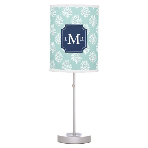 Mint Coral Reef Pattern and 3-Letter Monogram Table Lamp