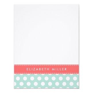 Mint & Coral Ribbon Polka Dots Monogram Note Card Invitation