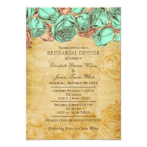 Mint Coral Roses Rustic rehearsal dinner invites