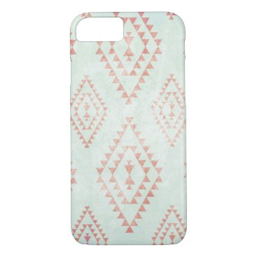 Aztec Themed mint & coral tribal pattern iPhone 7 case