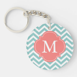 Mint & Coral Zigzag Pattern Monogram Acrylic Keychains