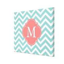 Mint & Coral Zigzags Pattern Monogram Canvas Print