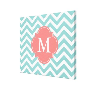 heartlocked Mint & Coral Zigzags Pattern Monogram Canvas Print