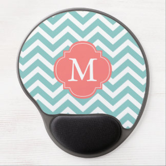 Mint & Coral Zigzags Pattern Monogram Gel Mouse Pad