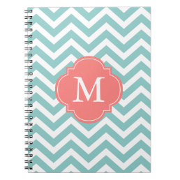 Mint & Coral Zigzags Pattern Monogram Notebook