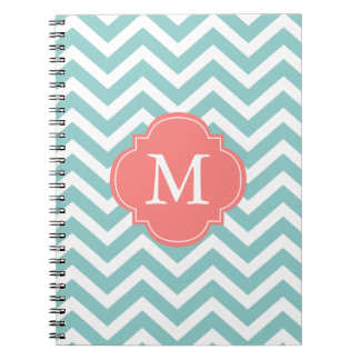 Mint & Coral Zigzags Pattern Monogram Note Book