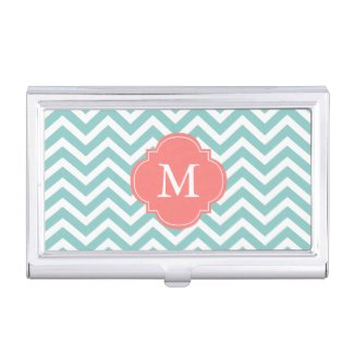 Mint & Coral Zigzags Pattern Monogrammed