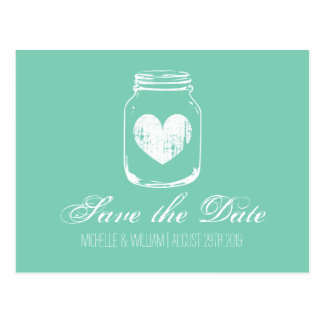 Mint country chic mason jar save the date cards