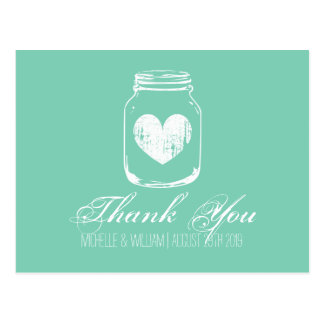Mint country chic mason jar thank you cards
