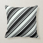 [ Thumbnail: Mint Cream and Black Stripes/Lines Pattern Pillow ]