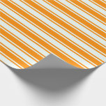 [ Thumbnail: Mint Cream and Dark Orange Colored Stripes Wrapping Paper ]