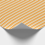 [ Thumbnail: Mint Cream and Dark Orange Stripes Wrapping Paper ]