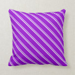 [ Thumbnail: Mint Cream and Dark Violet Stripes Throw Pillow ]