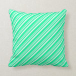 [ Thumbnail: Mint Cream and Green Colored Lines Throw Pillow ]