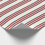 [ Thumbnail: Mint Cream and Maroon Colored Stripes Pattern Wrapping Paper ]