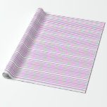 [ Thumbnail: Mint Cream and Plum Colored Lined/Striped Pattern Wrapping Paper ]