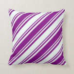 [ Thumbnail: Mint Cream and Purple Lines/Stripes Pattern Pillow ]