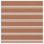 [ Thumbnail: Mint Cream and Sienna Stripes Pattern Fabric ]