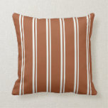 [ Thumbnail: Mint Cream and Sienna Stripes Pattern Throw Pillow ]
