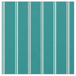 [ Thumbnail: Mint Cream and Teal Stripes/Lines Pattern Fabric ]