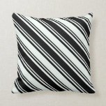 [ Thumbnail: Mint Cream & Black Colored Lines/Stripes Pattern Throw Pillow ]