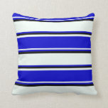 [ Thumbnail: Mint Cream, Blue & Black Colored Stripes Pillow ]