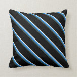[ Thumbnail: Mint Cream, Blue, Dark Slate Gray, and Black Throw Pillow ]
