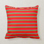 [ Thumbnail: Mint Cream, Blue, Green & Red Colored Pattern Throw Pillow ]