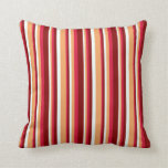 [ Thumbnail: Mint Cream, Brown, Crimson & Maroon Lines Pillow ]