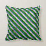 [ Thumbnail: Mint Cream, Brown, Light Gray, Royal Blue & Green Throw Pillow ]