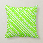 [ Thumbnail: Mint Cream & Chartreuse Stripes Pattern Pillow ]