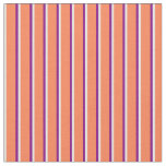[ Thumbnail: Mint Cream, Coral & Purple Lines/Stripes Pattern Fabric ]