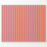 [ Thumbnail: Mint Cream, Coral & Purple Lines/Stripes Pattern Wrapping Paper ]
