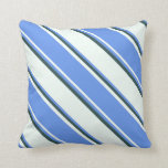 [ Thumbnail: Mint Cream, Cornflower Blue & Dark Slate Gray Throw Pillow ]