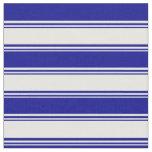[ Thumbnail: Mint Cream & Dark Blue Striped/Lined Pattern Fabric ]