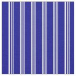 [ Thumbnail: Mint Cream & Dark Blue Stripes Pattern Fabric ]