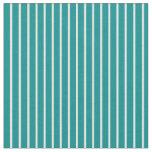 [ Thumbnail: Mint Cream & Dark Cyan Stripes Pattern Fabric ]