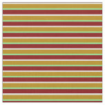 [ Thumbnail: Mint Cream, Dark Goldenrod, Green & Maroon Lines Fabric ]