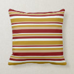 [ Thumbnail: Mint Cream, Dark Goldenrod, Tan & Maroon Colored Throw Pillow ]