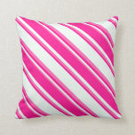 [ Thumbnail: Mint Cream, Deep Pink & Hot Pink Lines Pillow ]