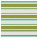 [ Thumbnail: Mint Cream, Green, and Aquamarine Lines Pattern Fabric ]