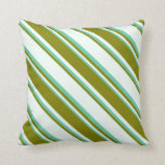 [ Thumbnail: Mint Cream, Green, and Aquamarine Lines Pattern Throw Pillow ]