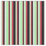 [ Thumbnail: Mint Cream, Green, Crimson & Black Colored Lines Fabric ]