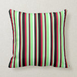 [ Thumbnail: Mint Cream, Green, Crimson & Black Colored Lines Throw Pillow ]