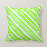 [ Thumbnail: Mint Cream & Green Lined Pattern Throw Pillow ]