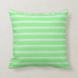 [ Thumbnail: Mint Cream & Light Green Pattern Throw Pillow ]
