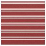 [ Thumbnail: Mint Cream & Maroon Lined Pattern Fabric ]