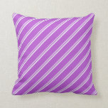 [ Thumbnail: Mint Cream & Orchid Colored Lined/Striped Pattern Throw Pillow ]