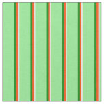 [ Thumbnail: Mint Cream, Red, Green, and Light Green Lines Fabric ]