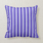 [ Thumbnail: Mint Cream & Slate Blue Colored Lines Pattern Throw Pillow ]